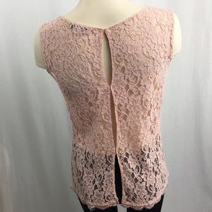 Babaton Salmon Pink Lace Shell Lined in Front M